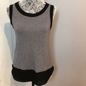 {LOFT} Grey and black lace trim tank top